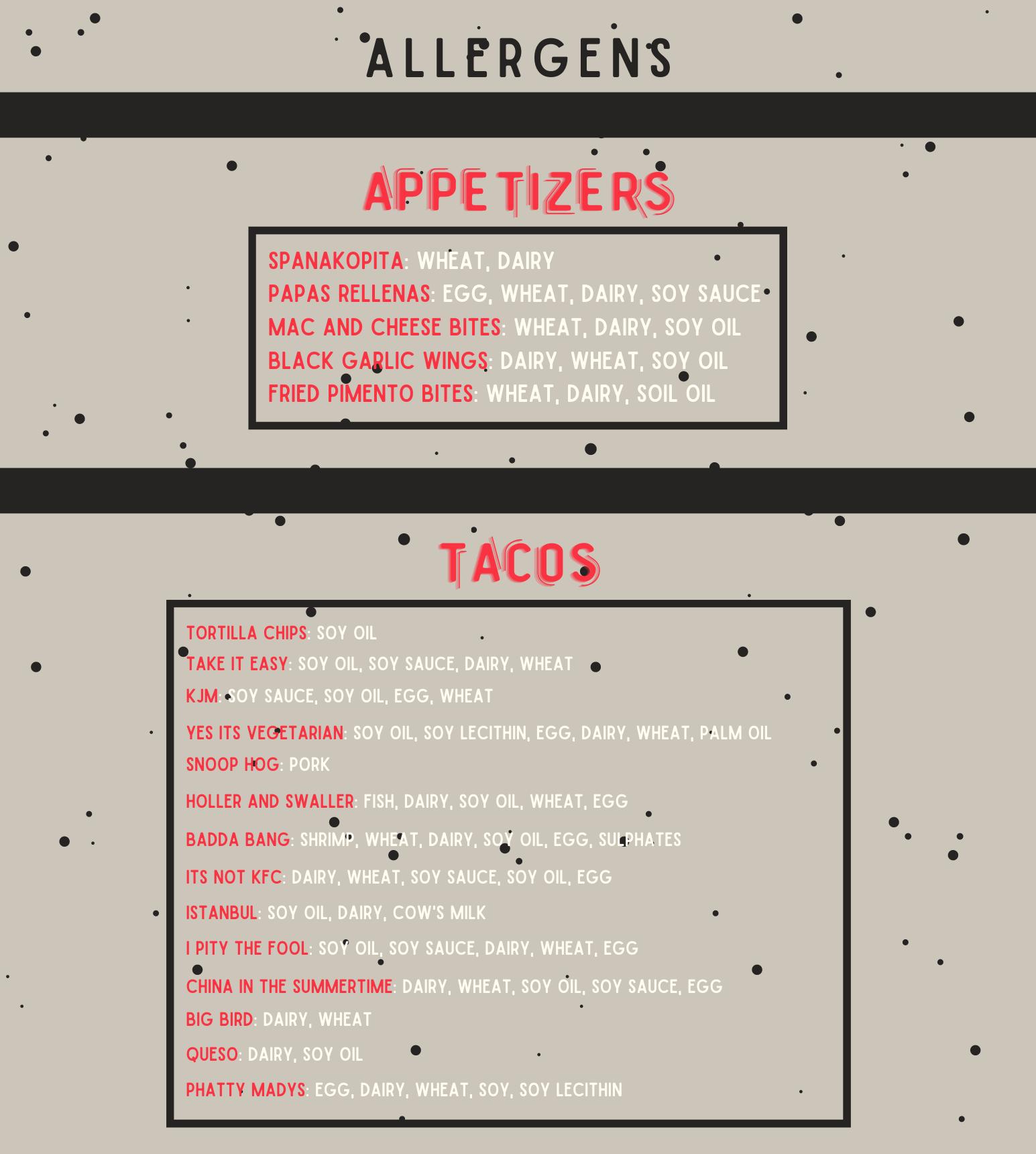 Misfit Tacos - Allergens